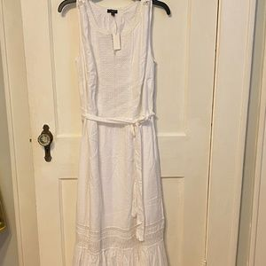 Talbots women's white sleeveless prairie dress NWT